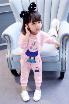 Western style Korean-style Spring and Autumn girls New style autumn dress (Pink) (Pink)