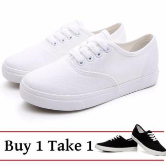 White and Black Canvas Sneakers for Women Buy 1 Take 1 Shoes