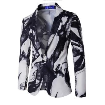 white Blazer Men Printed Men Blazers Casual Suit Jacket Slim Fit Homens Blazer Mens Stage Wear Brand Coat - intl