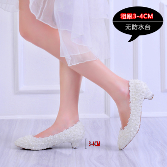 White bridal wedding veil photo shoot fashion Women's Singles shoes high-heeled shoes (White [3-4cm]) (White [3-4cm])