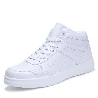 White junior high school student Rubber shoes Sneakers White male women's Plus velvet