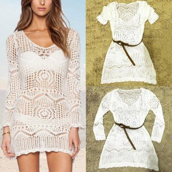 White Summer Boho Sexy Lace Hollow Knit Cover up Crochet Beach Dress - intl
