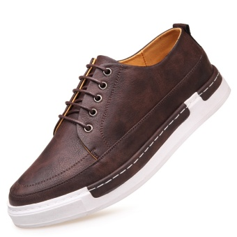 Versatile New style Men men's casual leather shoes Yellow Yellow