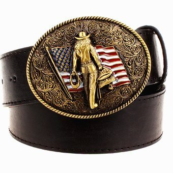Wild Personality Men's belt metal buckle colour western cowboy belts American cowboy style trend belt for men gift free shipping - Int'L