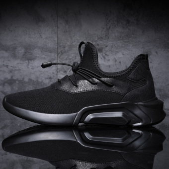 Versatile student running autumn Sneakers Shoes Men's + Black black Men's + Black black