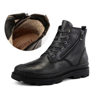 Winter Genuine Leather Ankle Martin Boots Men Keep Warm Snow Boots Black - intl