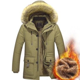 Winter jacket men`s thick warm cotton down coat windproof parka men brand clothing Hooded men's jacket - intl