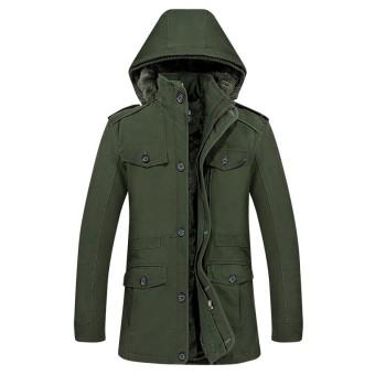 Winter jacket men`s thick warm cotton down coat windproof parka men brand clothing Simple plus velvet jacket - intl