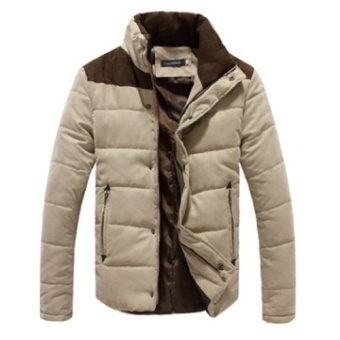Winter Men Jacket Casual Mens Jackets And Coats Thick Parka Men Outwear 4XL Jacket Male Clothing- Khaki - intl