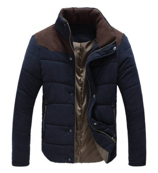 Winter Men Jacket Casual Mens Jackets And Coats Thick Parka Men Outwear 4XL Jacket Male Clothing- Navy Blue - intl