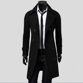 Winter Men Slim Stylish Trench Coat Double Breasted Long Jacket Parka - intl