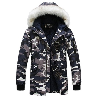 Winter Men's Thicken Camo Jacket Coat Fur Hooded Cotton Padded Warm Outwear Parka - intl