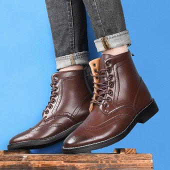 Winter Plush Rivet Leather Men Boots Vintage Casual Motorcycle Martin Boots Brown - intl