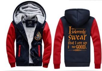 Winter Sweatshirt Men Hoodie Male Coat Hooded Brand Casual Zipper Thicken Harri Potter Velvet Hoody Man Polyester Tracksuit - intl