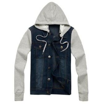 Winter Warm Mens Denim Biker Jacket Long Sleeve Hooded Coat Hoodies Outwear Plus Dark Blue - intl