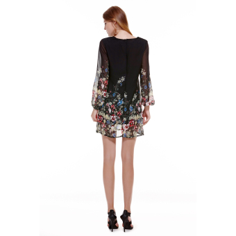 Woman Long Sleeve Floral Print Chiffon Dress Black - Intl - Intl