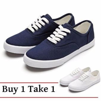 Women Canvas Sneakers Shoes Buy 1 Take 1 - Blue and White