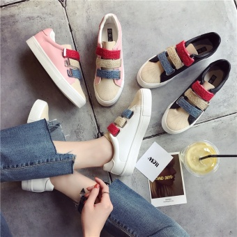 Women Casual Low Cut Canvas Velcro Sneakers Flat Shoes(White) -intl