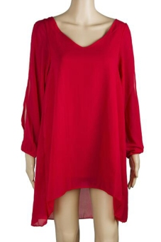 Women Casual Plus Size Summer Dress Long Sleeve Chiffon V-Neck Mini Sexy Loose Dress ( Red )