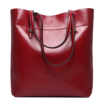 Women Cattlehide Genuine Leather Large Capacity Shoulder Bag Tote Bags (Wine Red)