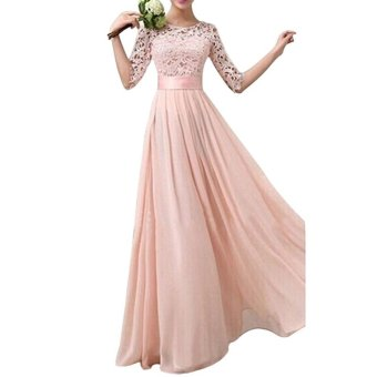 Women Crochet Lace 1/2 Sleeve Tunic Bridesmaid Formal Gown PartyMaxi Chiffon Long Dress (Pink - intl