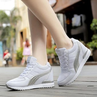 Women Fashion Sneakers Ladies Wedges Shoes Inner Heightening ShoesPlatform Casual Sport Shoes ( White ) - intl