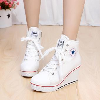 Women Girls Shoes High Top Wedge Heel shoes Lace Up Canvas Sneakers 8CM Height White-Intl