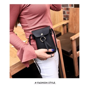 Women Lady PU Long Leather Wallet Bag Coin Purse Oil Wax Phone Mobile Clutch Handbag Mini size - intl