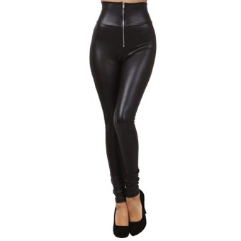 Women Leather Pants Leggings High Waist Black