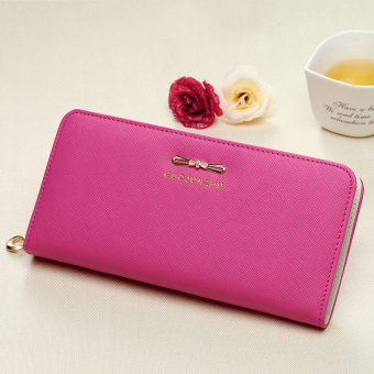 Women Long zip student female fashion wallet women's wallet (Rose) (Rose)
