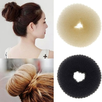 Women Magic Hair Bun Makers Headbands Donut Headwear (Black) 1piece