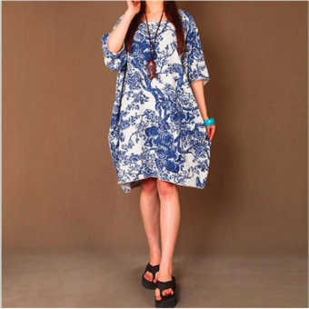 Women Maxi Long Linen Dress Vintage Floral Print Dresses Batwing Long Sleeve Pockets Casual Loose Vestidos Plus Size - intl