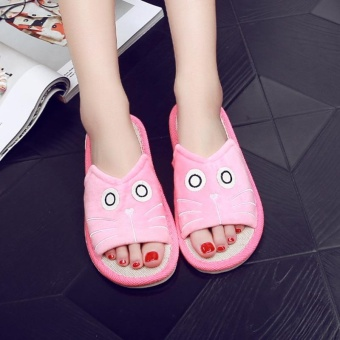 Women Men Anti-slip Linen Plaid Home Indoor Slippers Summer Open Toe Shoes Flax -