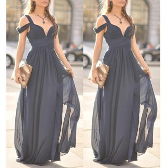 Women Party Dress Strap V-Neck Chiffon Bohemia Long Dress (Navy Blue) - intl