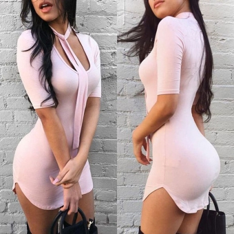 Women Sexy Slim Fit Bodycon Short Sleeve Evening Party Cocktail Mini Dress