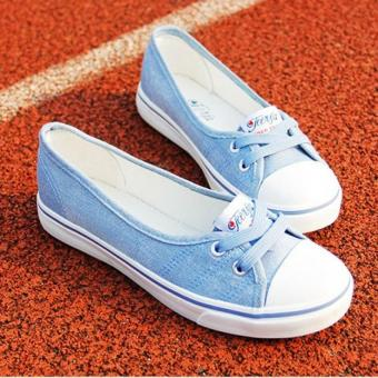 Women Slip-On Canvas Shoes Ladies Low-Cut Casual Flat Shoes (Blue)
