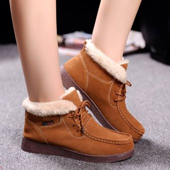 Women Snow Boots Warm Plush Furry Booties Winter Boots Snow ShoesFor Women Ankle Boots (Brown) - intl Price Philippines