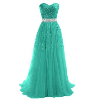 Women Strapless Sequins Cocktail Party Ball Gown Evening Long Dress(Green) - intl