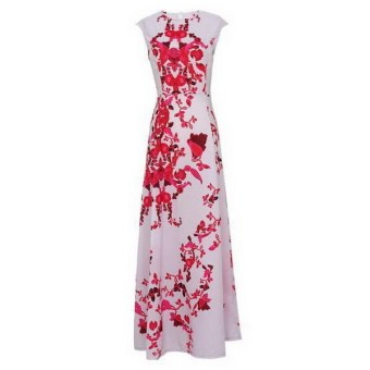 Women Summer Floral Print Long Maxi Boho Cocktail Evening Party Prom Gown Dress