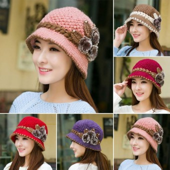 Women Winter Warm Beret Braided Knit Crochet Baggy Beanie Flower Hat Ski Ladies Cap - intl