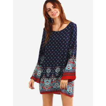 Women's Bohemian Casual Tunic Dress - Vintage Printed Ethnic Summer Boho Shift Tunic Loose Dress Tops (Blue) - intl