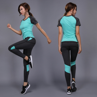 Women's Breathable Running Set Short Sleeve Shirt & Full Length Pants (Green two-piece sets four)