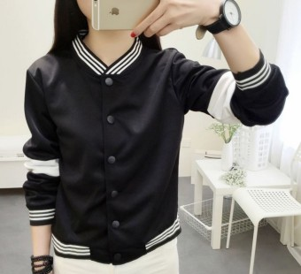 Women's Casual Stand Collar Baseball Jacket - Black - White (Black)