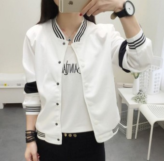 Women's Casual Stand Collar Baseball Jacket - Black - White (White)