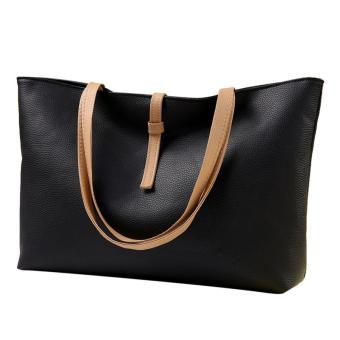 Women's Casual Tote Large Capacity Leather Shopper Shoulder Bag - Black - intl