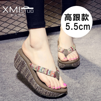 Women's Casual Wedge Platform Thong Slip-on Sandals (Women's + High-heeled Rafi grass) Price Philippines