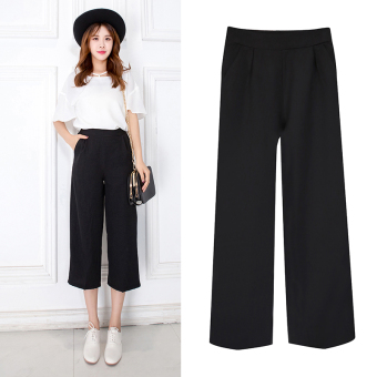 Women's Chiffon High Waist Straight Cropped Wide Leg Pants - Black