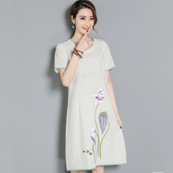 Women's Chinese-style Slim Fit Print Button Knot Ramie Cotton Fabric Midi Dress