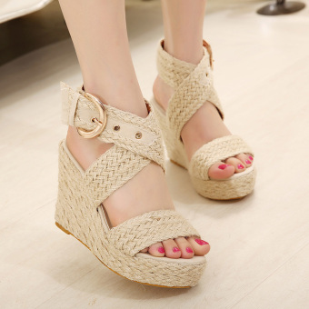 Women's Espadrille Wedge Sandals Fashion Casual Shoes Apricot