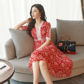 Women's Floral Print Gored Cutout Lace V-Neck Short Sleeve Midi Dress (Red)
